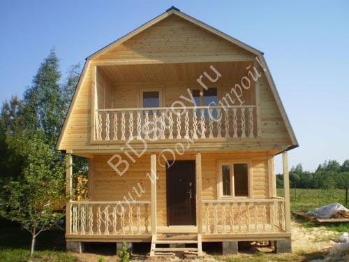 Строительство бани из бруса 6 на 6 с балконом и террасой