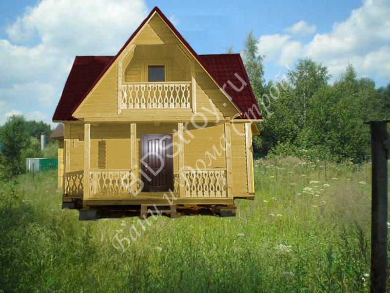 Дом из бруса 6 на 7,5 с балконом и террасой