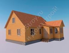 Дом из бруса №14 7 на 9,5 с крыльцом и верандой