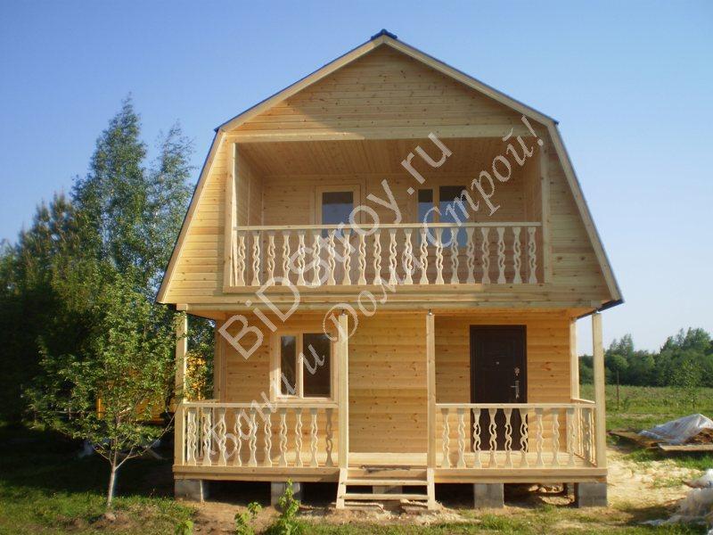 Дом из бруса 6 на 6 с балконом и террасой