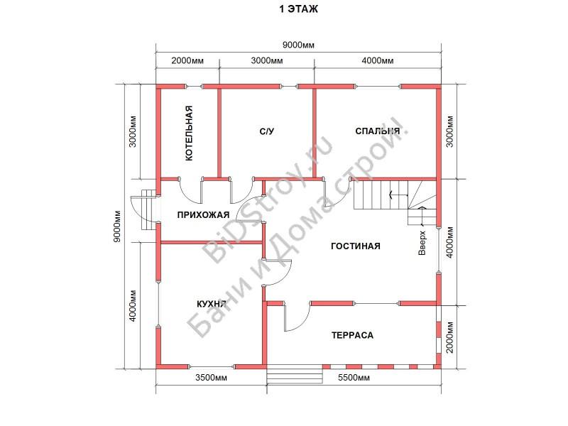 Планировка первого этажа в доме из бруса под усадку