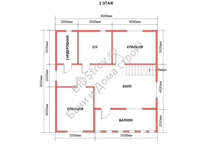 Планировка второго этажа в доме из бруса под усадку