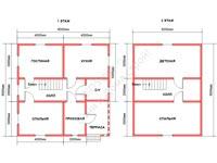 Планировка сруба дома из профбруса под усадку 8x8