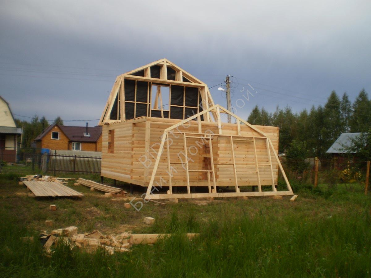 Монтаж крыши дома из бруса. Мансарда каркасно-щитовая