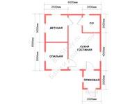 Проект одноэтажного каркасного дома 6 на 6