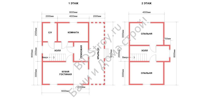 Планировка большого дома 8 на 8