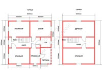 Планировка дома из бруса 8x8
