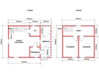 Планировка дома из бруса 6x8
