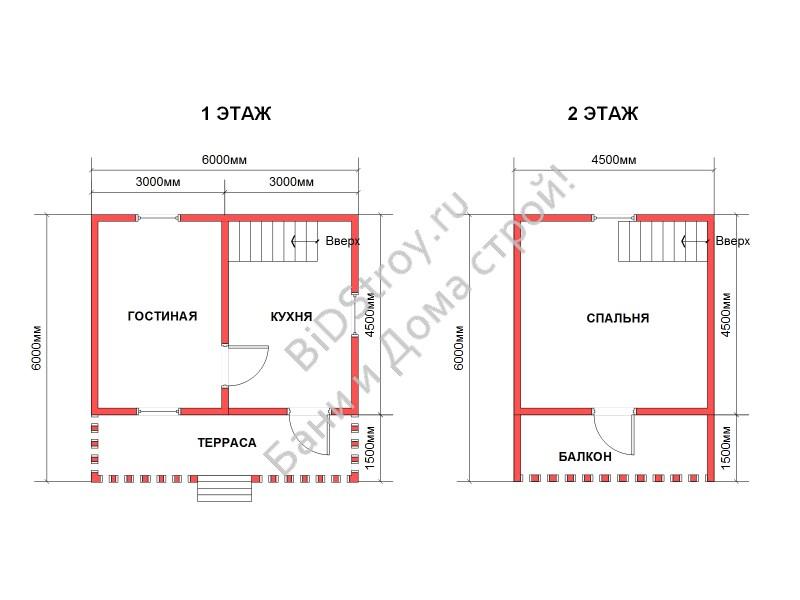 Планировка недорогого дома из бруса 6 на 6