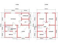 Планировка дома из бруса 8 на 8