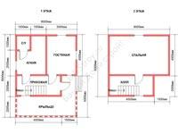 Планировка дома из бруса 6 на 8